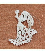 Jelenček stojaci glitrovaný biely 17cm sada 4 kusy
