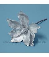Vianočná magnólia saténová s flitrami biela 18cm