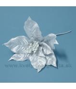 Poinsettia vianočná ruža taftová s glitrovaným lemom sivá 25cm