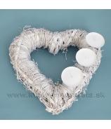 Svietnik srdce prútené ovíjané na tri sviečky biele 36cm