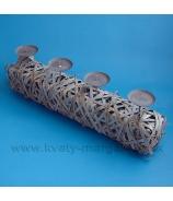 Dvojsvietnik hranol ploché lúpané prútie s kalíškami titanová sivá 32cm