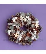 Venček naturálny šiškový s čečinou hviezdami a guľkami 23cm