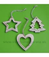 Hviezda, srdce, stromček drevené vyrezávané ozdoby na zavesenie 7cm sada 3 kusy