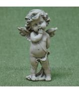 Anjelik Amor stojaci s macíkom na zemi sivý 14cm