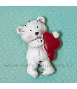 Macko Valentín so srdiečkom magnet 6cm