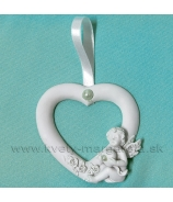 Valentínske srdce s párom anjelikov biele 9cm