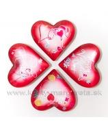 Valentínske srdiečko vypuklé LOVE YOU 4.5cm magnet mix 4 typy blister
