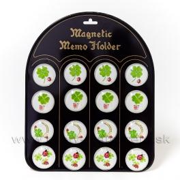 Magnet štvorlístok pre šťastie sada 16 kusov mix 4 typy na tabuli 4cm
