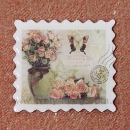 Magnet poštová známka LOVE Ruže 5cm