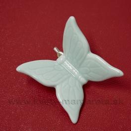 Motýľ na štipci porcelánový 5cm svetlo-zelený