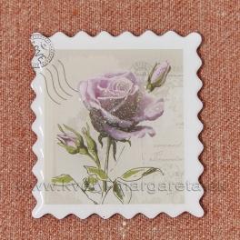 Magnet poštová známka LOVE Ruža fialová 5cm