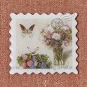 Magnet poštová známka LOVE Ruže vo váze 5cm