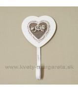 Vešiak na stenu Srdce s ružou Romantic biela-naturál 20cm