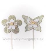Motýľ a kvietok s gombíkom na špajli Biela - Naturál 2 kusy