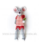 Myšiak Valentín s ružami na spružine 5.5 cm