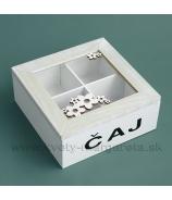 Krabička na čaj 2x2 kvietky biela 17cm
