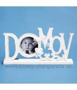 Fotorámček vyrezávaný text HOME so srdiečkom biela patina 18cm
