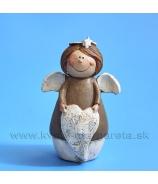 Anjelik bacuľatý držiaci srdiečko bielo-hnedý 7cm