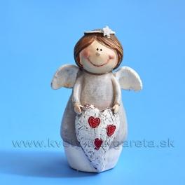 Anjelik bacuľatý držiaci srdiečko bielo-sivý 7cm