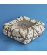 Nádoba štvorec pásikový výplet bielo-hnedý 28x28 cm