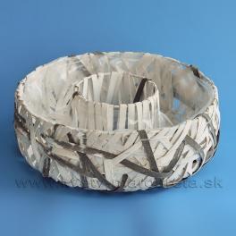 Nádoba prstenec pásikový výplet bielo-sivý 30 cm