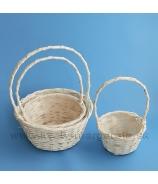 Košíky okrúhle s rúčkou sada 3 kusy hladké prútie biele