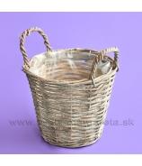 Košík okrúhly s ušami Antik biela patina 15cm