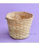 Košík okrúhly obal ploché prútie 17cm okrový