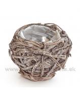 Košík guľa kôrové hniezdo hnedé 14cm