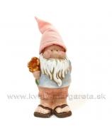Záhradný trpaslík Hapčí s kvietkom Khaki čiapka 23cm