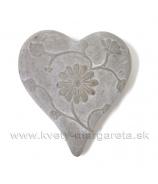 Srdce zdobené ružami sivá kamenina 12 cm