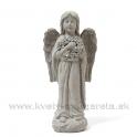 Anjel s vencom v náručí sivá kamenina 36cm