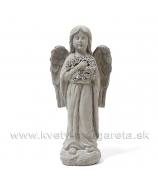 Anjel s vencom v náručí sivá kamenina 42cm
