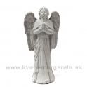 Anjel modliaci sa sivá kamenina 25cm