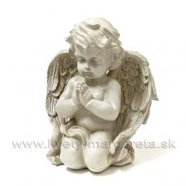 Anjel kľačiaci modliaci sa krémový 20cm