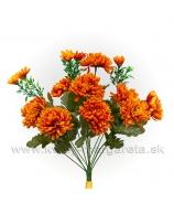 Chryzantémová kytica 10 kvetov s trávou maslovo biela