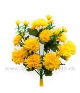 Chryzantémová kytica 10 kvetov s trávou oranžové