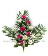 Kytica ružičky plochá väzba 55cm biele a krémové v mixe