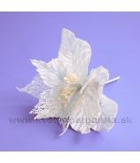 Poinsettia Vianočná ruža Mikroplyš a skeletové listy 20cm oceľová sivá
