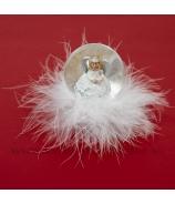 Anjelik v bublinke na páperovom obláčiku snežítko 6cm