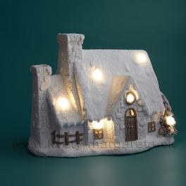 Zasnežená chalúpka 40cm svietiaca LED
