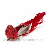 Vtáčik Glitter na štipci dlhý pierkový chvost s perličkami 15cm červený