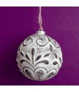 Vianočná ozdobá guľa PALMETA hnedo - biela ANTIK 8cm