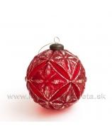 Vianočná ozdobá guľa VIENNA karamel s glitrom 10 cm