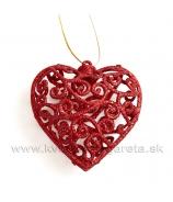 Srdce závesné vypuklé s ornamentom 7.5cm červené