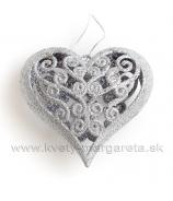 Srdce závesné vypuklé s ornamentom Symetrické 10cm strieborné