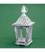 Závesný drevený lampášik Skelet biely 30cm