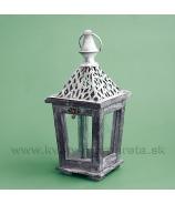 Závesný drevený lampášik Skelet Antik biela patina 30cm