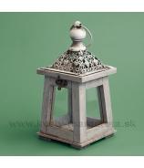 Závesný drevený lampášik Skelet Antik sivá patina 30cm