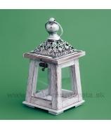 Závesný drevený lampášik SHELL Antik sivá patina 25cm